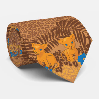 Cute lion cartoon and flowers leopard pattern neck tie