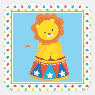 Cute Lion   Circus Theme Square Sticker