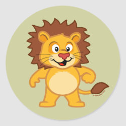 Round Sticker with Cute Lion design