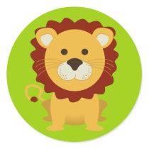 Cute Lion Classic Round Sticker