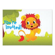 Cute Lion Cub Birthday Party Invitation