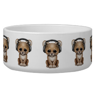 Cute Lion Cub Dj Wearing Headphones Bowl