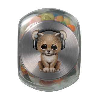 Cute Lion Cub Dj Wearing Headphones Jelly Belly Candy Jars