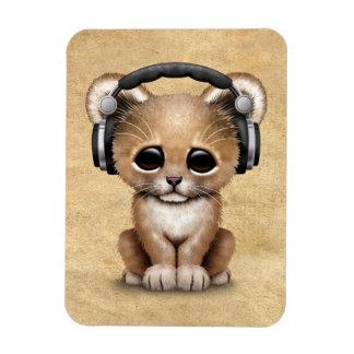 Cute Lion Cub Dj Wearing Headphones Magnet