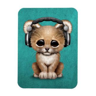 Cute Lion Cub Dj Wearing Headphones on Blue Magnet