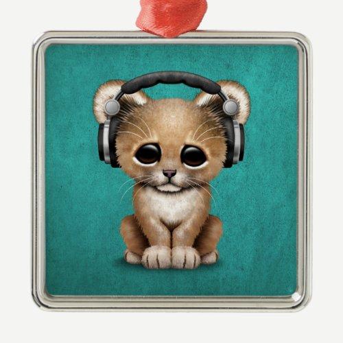 Cute Lion Cub Dj Wearing Headphones on Blue Metal Ornament