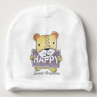 cute Lion Cub holding HAPPY sign board Baby Beanie