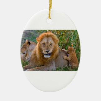 Cute Lion Cub Playing With Dad, Kenya Ceramic Ornament
