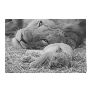 Cute Lion Cub Resting With Father Laminated Place Mat