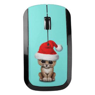 Cute Lion Cub Wearing a Santa Hat Wireless Mouse