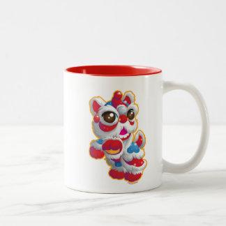 Cute Lion Dancer Two-Tone Coffee Mug