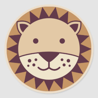 Cute Lion Face Classic Round Sticker