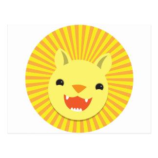 cute lion face postcard