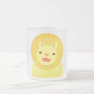 cute lion face smiling wonderful! frosted glass coffee mug