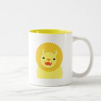 cute lion face smiling wonderful! Two-Tone coffee mug