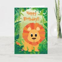 Cute Lion Happy Birthday Card