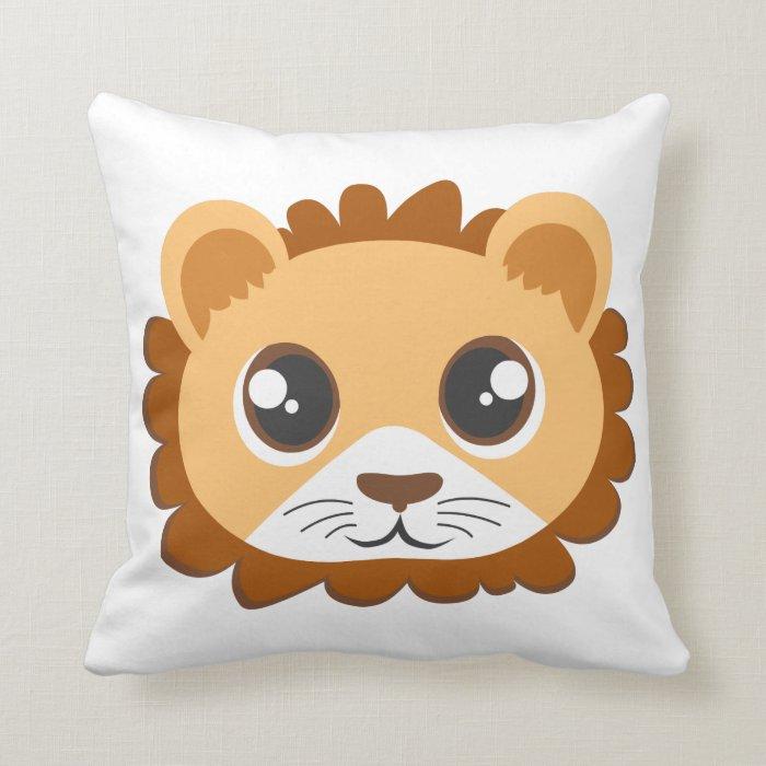 Cute Lion Pillow : Cute Lion Head Cartoon Throw Pillow Zazzle