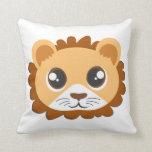 Cute Lion Head Cartoon Throw Pillow