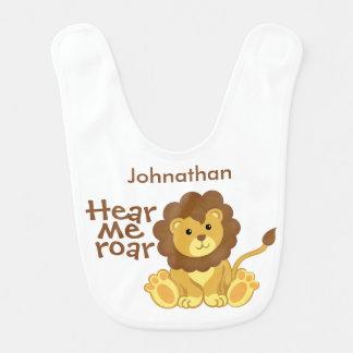 Cute Lion Hear Me Roar Personalized Baby Bib