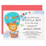 Cute Lion Hot Air Balloon Baby Shower Invitation