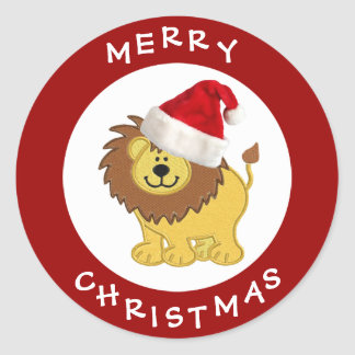 Cute Lion in Santa Hat Red Christmas Stickers