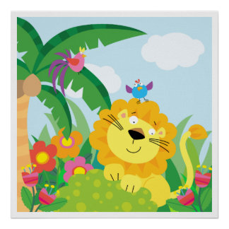Cute Lion in the Jungle Poster