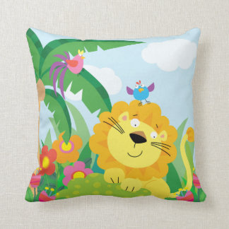 Cute Lion in the Jungle Throw Pillow