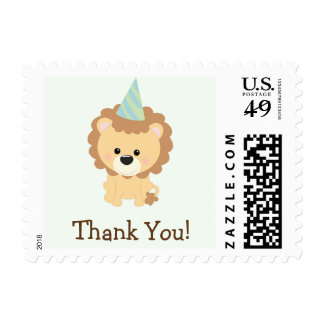 Cute Lion Jungle Animal Thank You Postage Stamp