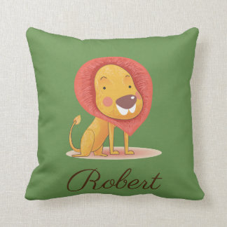 Cute Lion King Illustration Personalized your name Throw Pillow