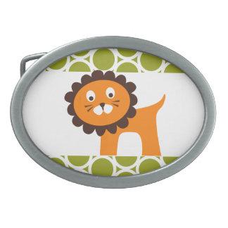 Cute Lion on Green Pattern Gifts for Kids Oval Belt Buckles