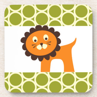Cute Lion on Green Pattern Gifts for Kids Drink Coaster