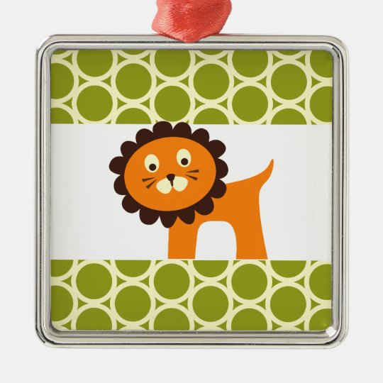 Cute Lion on Green Pattern Gifts for Kids Metal Ornament