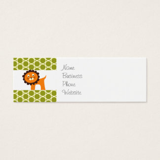 Cute Lion on Green Pattern Gifts for Kids Mini Business Card