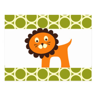 Cute Lion on Green Pattern Gifts for Kids Post Card