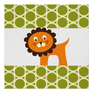 Cute Lion on Green Pattern Gifts for Kids Poster