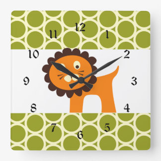 Cute Lion on Green Pattern Gifts for Kids Square Wall Clock