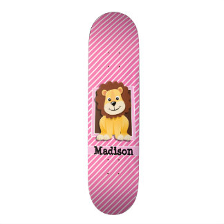 Cute Lion on Pink & White Stripes Skate Deck