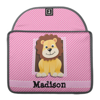 Cute Lion on Pink & White Stripes Sleeves For MacBooks