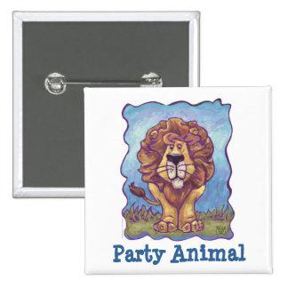 Cute Lion Party Animal Button