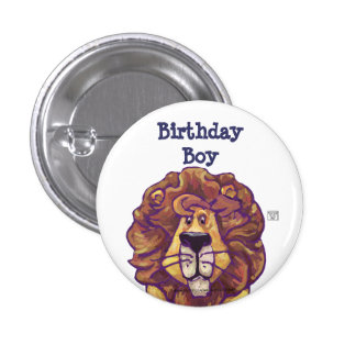 Cute Lion Party Center Birthday Boy Buttons