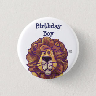 Cute Lion Party Center Birthday Boy Pinback Button