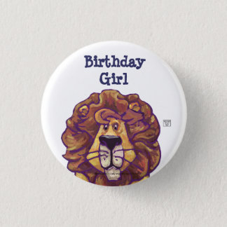 Cute Lion Party Center Birthday Girl Pinback Button