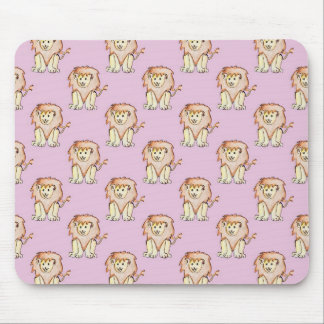 Cute Lion Pattern, Purple Background Mouse Pad