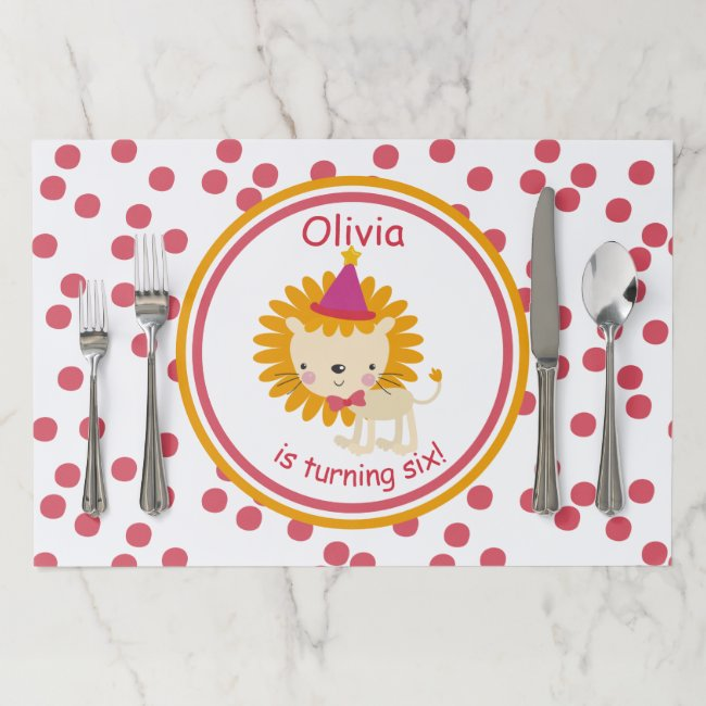 Cute Lion & Pink Polkadots - Kids' Birthday