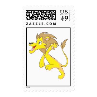 Cute Lion Running Jumping Postage Stamp