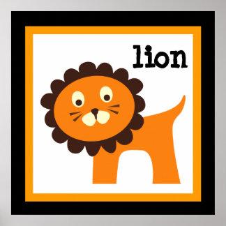 Cute Lion Safari Animals Baby Nursery Kids Poster
