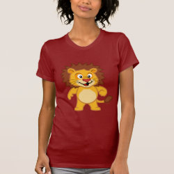 Women's American Apparel Fine Jersey Short Sleeve T-Shirt with Cute Lion design