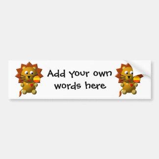 Cute lion with lollipop! bumper sticker