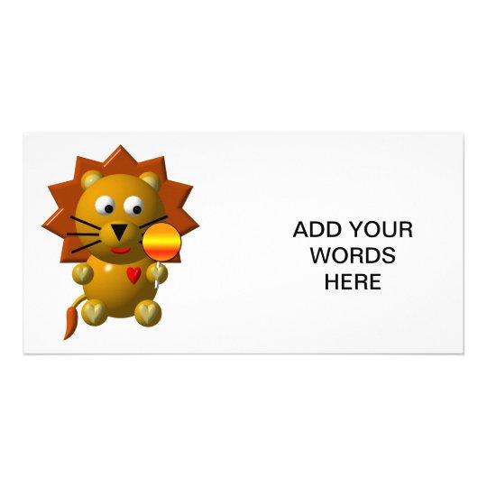 Cute lion with lollipop! card