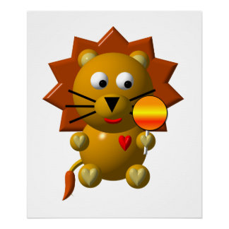 Cute lion with lollipop! poster
